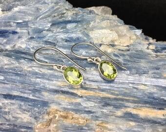 Simple Peridot Drop Earrings // 925 Sterling Silver // Oval Bali Setting