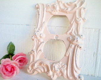 Shabby Pink Light Switch Cover/ 2 Way Light SwitchPlate /Repurposed Vintage Metal In Shabby Pink/Wall Decor/ Shabby Beach/ Price For 1