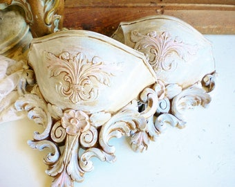 french brocante syroco wall vintage wall sconce set of twogold