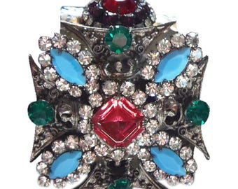 Exquisite Moans Couture Jeweled Cuff Bracelet Statement Jewelry Vrba Protege Artist Created