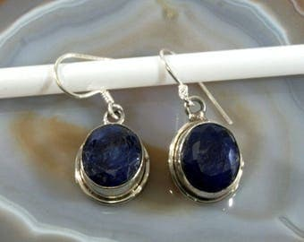 Sapphire  and Silver Earrings  -- 1069