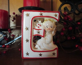 "Vintage Replacement Artmark Letter ""E"" Christmas Noel Angel"