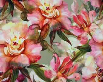 Digital Printed Floral Upholstery Fabric, Furnishing Watercolor Fabric, Durable Fabric Non-fade Drapery Fabric, 1/2 Yard/Metre, DB-129