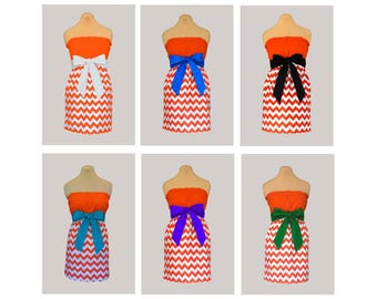 Pack of 6 Orange Chevron Dresses - Any Combination of Sash Colors