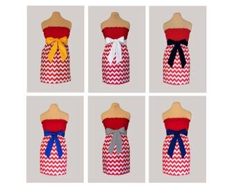 Pack of 6 Red Chevron Dresses - Any Combination of Sash Colors
