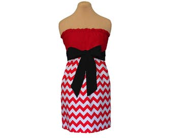 Red + Black Chevron Game Day Dresses