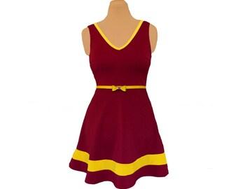 Deep Red + Yellow Skater Dress
