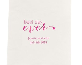 Best Day Ever Printed Wedding Dinner Size Napkins - Set of 80 Personalized Wedding Dinner Napkins - Best Day Ever Napkins - Wedding Napkins