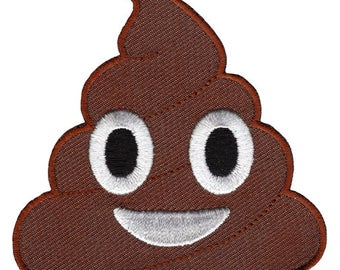 POOP EMOJI PATCH iron-on embroidered brown Dog Dirt Pile Emoticon funny humor gag gift