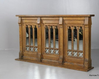 Victorian Oak Gothic Alter Overmantle Mirror