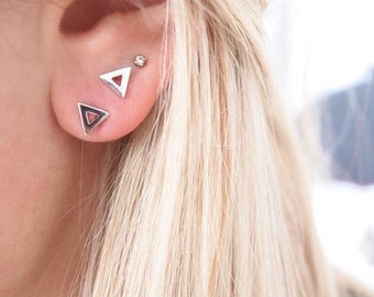 Earring posts studs sterling silver triangle 925/000 - sterling silver earrings