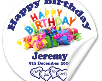 Personalised Birthday Stickers / Seals, Full Colour Gloss 45mm, Boy