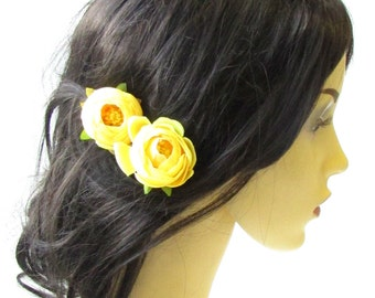 2 x Yellow Ranunculus Flower Hair Pins Vintage Rockabilly Clip Rose Bud 50s 1483