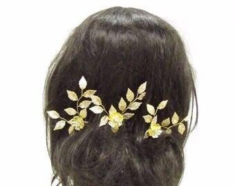 3 x Gold Vine Leaf Flower Hair Pins Bridal Wedding Silver Diamante Grecian 2856