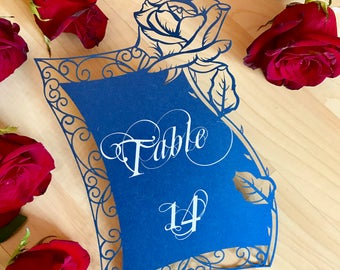 Laser Cut Table Numbers with Beauty and the Beast Inspired Rose with easels included