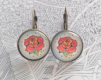 Rose Earrings - tattoo jewellery - tattoo earrings - rose earrings tattoo - bronce earrings - rose earrings