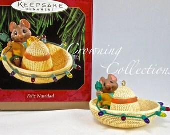 1997 Hallmark Feliz Navidad Keepsake Ornament Mouse in a Sombrero with Christmas Lights Vintage