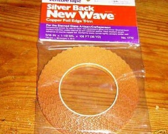 "Silver Back New Wave Copper Foil-5/16"" Scalloped Copper Foil-Jewelry Supplies-Stained Glass Supplies"