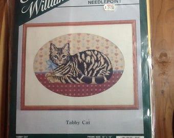 Elsa Williams Tabby Cat Needlepoint Kit, complete, sealed wool tapestry kit, design 06300