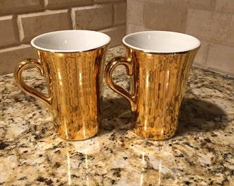 2707 HALL Set of 2 #343 Golden Glo coffee mugs, gold hall coffee mugs, Hall golden glo mugs, golden Hall crown ffee mugs...