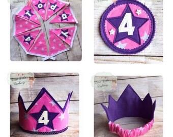 Birthday Celebration Set, Birthday Bunting, Birthday Crown, Birthday Badge, Party Pack, Pink, Purple