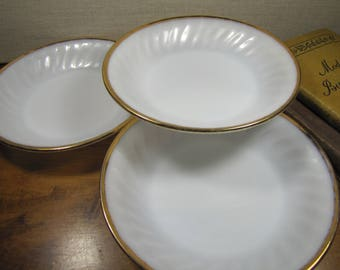 Set of Three (3) Fire King Milk Glass Coupe Soup Bowls - Swirled Sides - Gold Accent