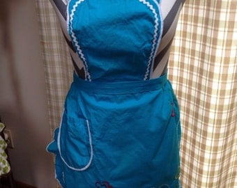 Cotton Full Apron Embroidered Teal Blue