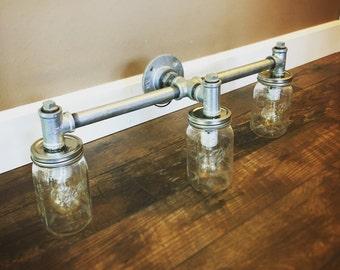 Industrial Mason Jar Light Fixture