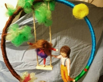Needle felted mobile, Waldorf inspired, Boy and a girl on swing, Needle felted tree and hedgehog,
