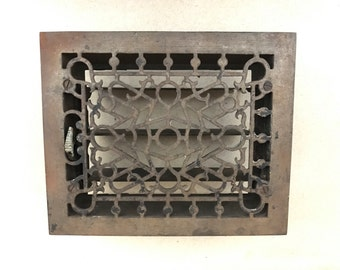 Antique Cast Iron Heat Grate / Ornate Heat Register / Victorian Floor Grate