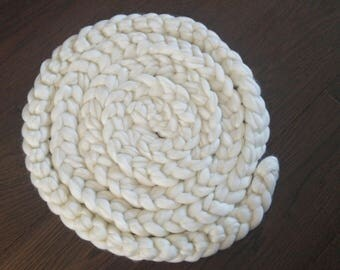 Ivory Wool Braid 400cm, Basket Filler, Newborn Baby Photo Prop Stuffer ,Boa, Soft Wool Plait in 6 colours