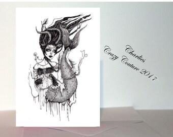 Capricorn Gothic  Victorian Zodiac/ star sign A6 card