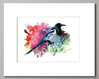 MATTED ARCHIVAL PRINT,Magpie Art Print From Original Watercolor, Home Decor Wall Art, Crow Wall Decor Art Print