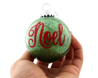 Noel glitter ornament, Glitter Christmas ornament, Glitter ornament, Vinyl ornament, Christmas ornament, Green Christmas ornament, Noel