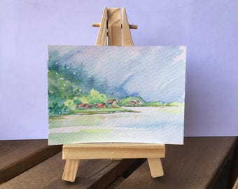 Lac de Geneve - ATC / ACEO Original Watercolor Painting - Miniature Mini Painting - Landscape - OOAK Collectible Fine Art Card Gift Set