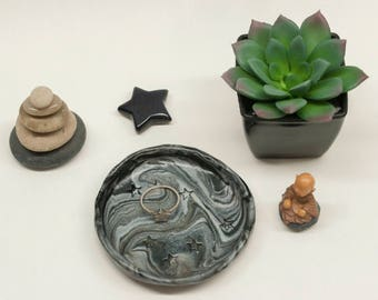 Black and Silver Stars Marbled Ring Dish, Polymer Clay Bowl