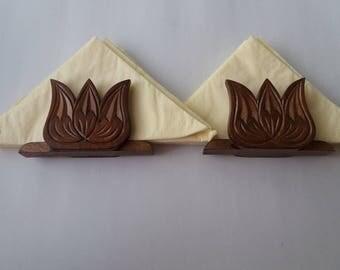 Handcarved brown special handmade napkin holder set tulip napkin holder gift for women,girl, men, tissue holder,rustic table accesories