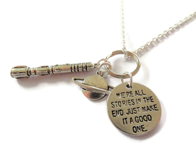 Doctor necklace, the doctor gift, stories in the end gift, screwdriver necklace,  space necklace, time traveller gift,  planet gift, fandom
