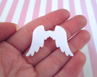 2 White Wing Cabochons, Angel Wings,Laser Cut Cabochons #477