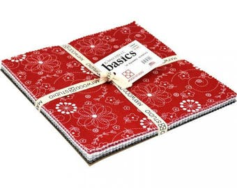 """Kimberbell Basics Red Black and White 10"""" Squares Layer Cake by the pack"""