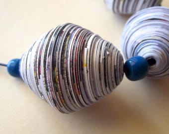 Recycled Paper Necklace, Paper Necklace and Blue Glass Bead, White and Blue Necklace.