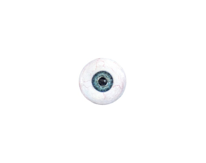 Original Miniature painting of a Big Blue Eyeball tiny painting, Blue Eyeball tiny art 5 x 5
