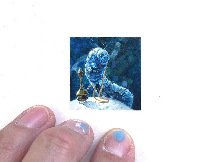Original Miniature painting of a Alice in Wonderland's Caterpillar tiny painting, Alice In Wonderland's Caterpillar tiny art 5 x 5