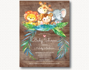 Safari Baby Shower Invitation, Jungle, Wood, Rustic, Giraffe, Baby Shower, Elephant, Monkey, Lion, Neutral, Unique, Digital, Printable, Boys