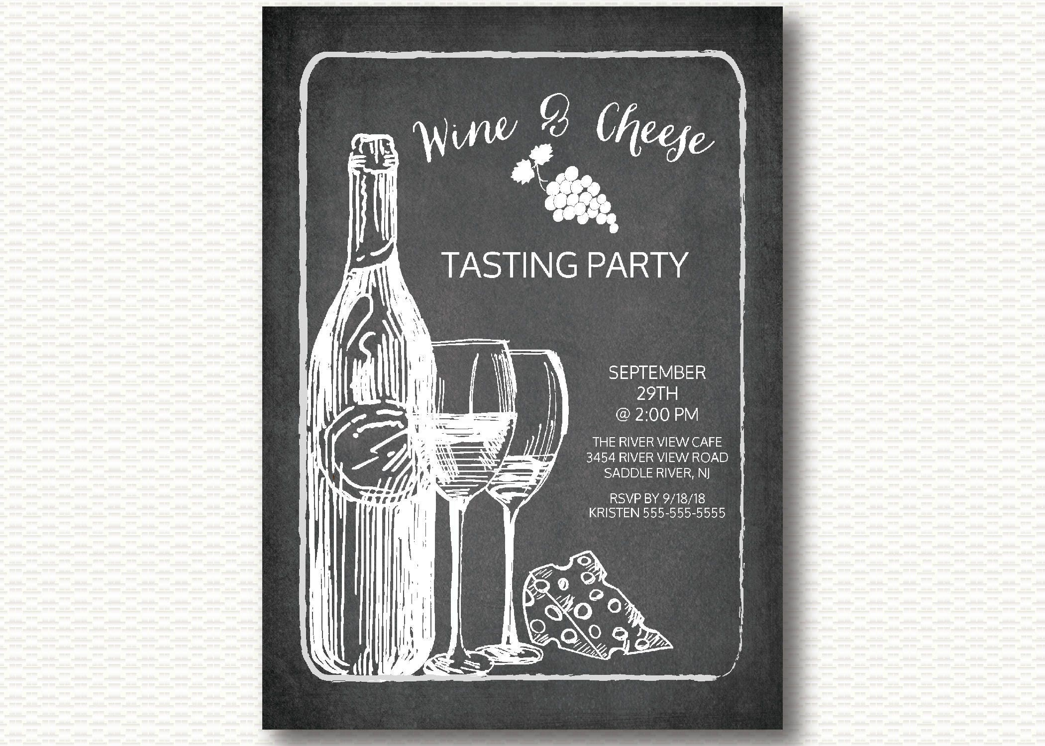 Modern Wine & Cheese Tasting Party Invitation Party Wine