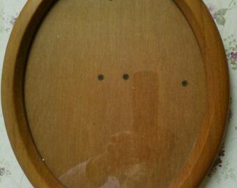 Wood Oval Picture Frame Vintage