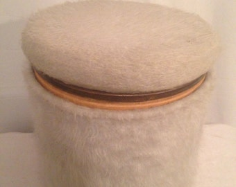 Ottoman old with chest grey fur & brass BE