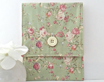 Laptop Sleeve, E Reader, iPad, Tablet, Kindle, Sleeve,Pouch, Case - Floral, Green