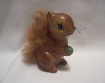 Squirrel Figurine with Fur Tail