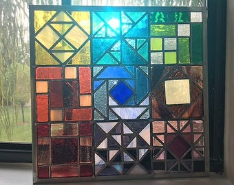 Quilt Sampler Stained Glass Panel